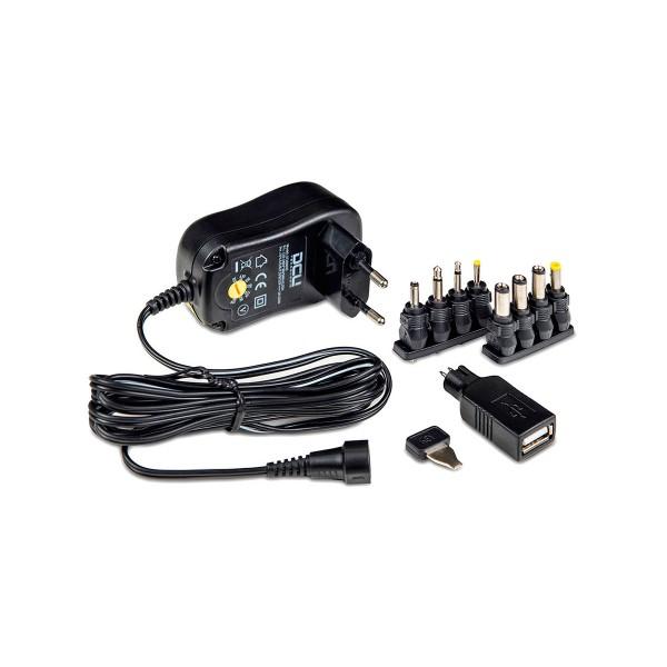 Dcu alimentador universal conmutado de salida variable de 18w 1.5a+usb y alta eficiencia energética