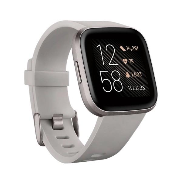 Fitbit fb507gysr versa 2 piedra/aluminio smartwatch reloj de salud y forma física con amazon alexa integrada
